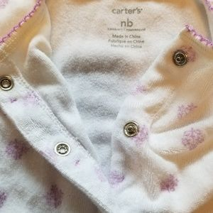 Carter's One Pieces - Carter's Purple Flowers and Bows Footed Pajamas